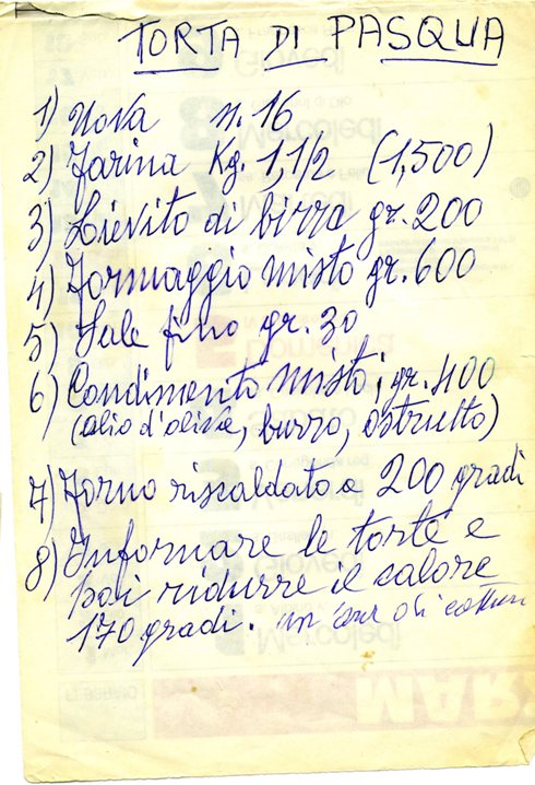 Torta di Pasqua scritta dal mio babbo Dante