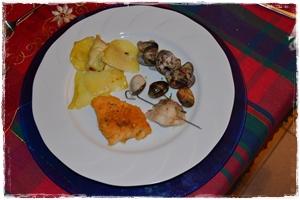 Tris di filetti: branzino lardellato, persico gratinato, fiori di patate e cernia