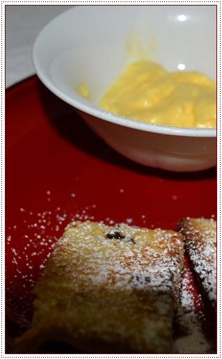 Panettone tostato con mousse all'arancia