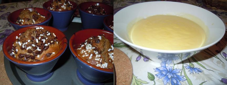 muffins al cacao e crema alla vaniglia