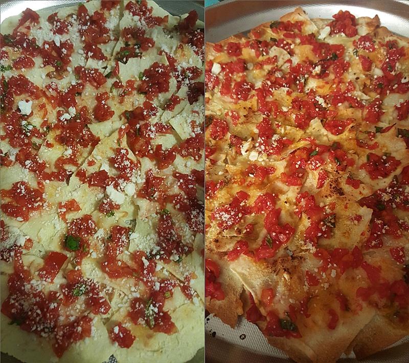 PANE CARASAU con pomodori e ricotta salata