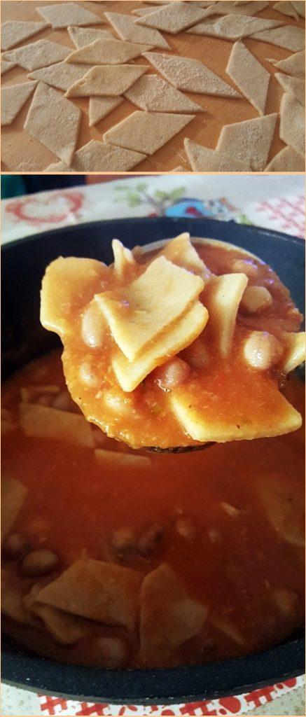 Patacucci con minestra di fagioli