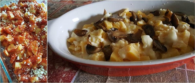 La polenta al sugo e ai formaggi e funghi