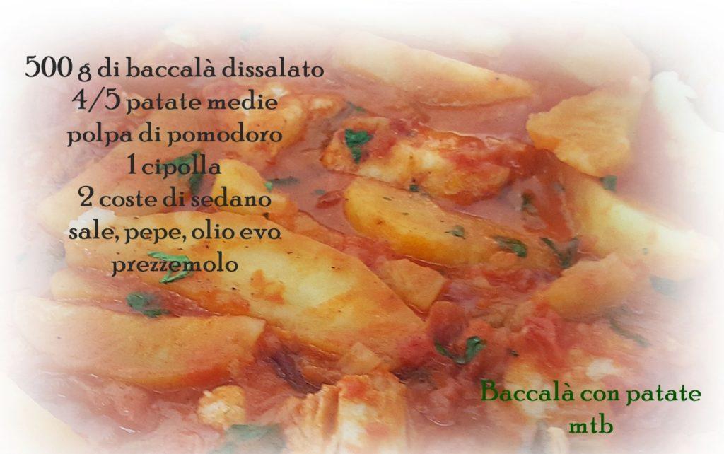 Ingredienti 500 g di baccalà dissalato 4 patate medie polpa di pomodoro cipolla, coste di sedano olio evo, sale, pepe. prezzemolo