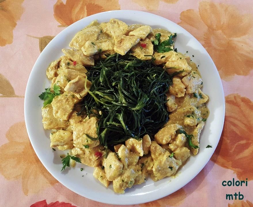 COLORI: pollo al curry e agretti olio e limone