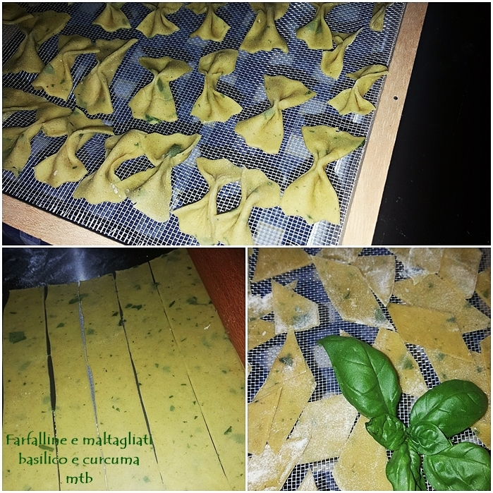 Farfalline e maltagliati al basilico e curcuma