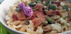 Pennette con fave e pecorino, pancetta croccante